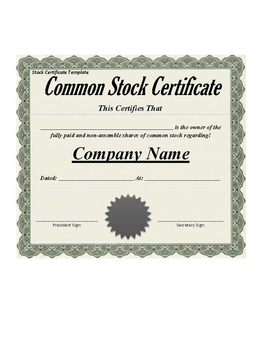 Best 3+ Stock Certificate Template Format Excel - You Calendars Intended For Blank Share Certificate Template Free