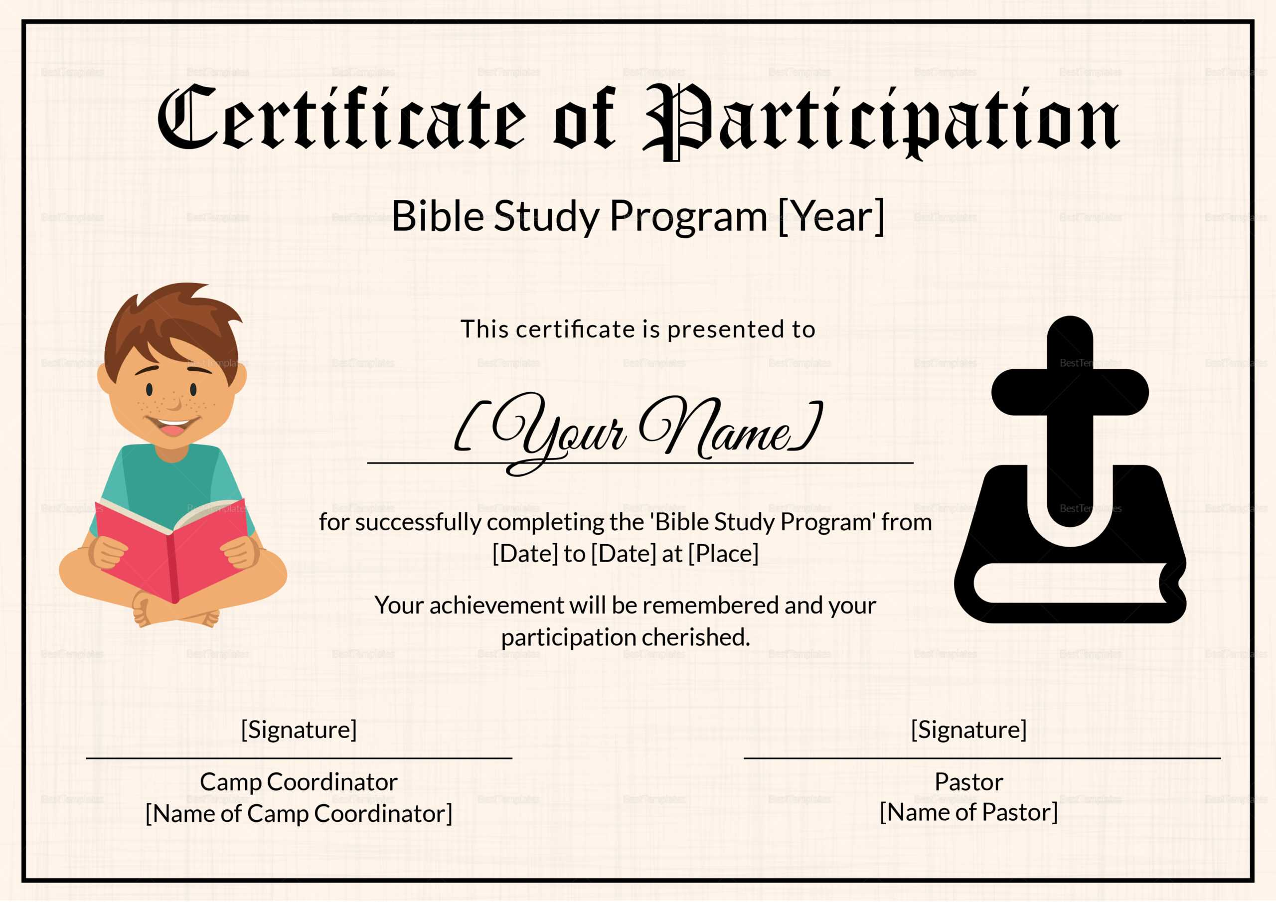 Bible Prophecy Program Certificate For Kids Template With Christian Certificate Template