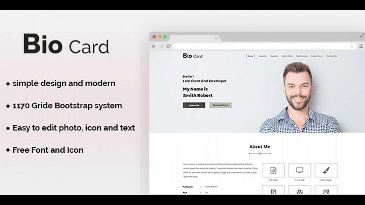 Biocard - Personal Portfolio Psd Template | Themeforest For Bio Card Template