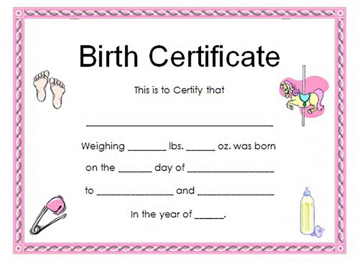 Birth Certificate Template And To Make It Awesome To Read intended for Girl Birth Certificate Template