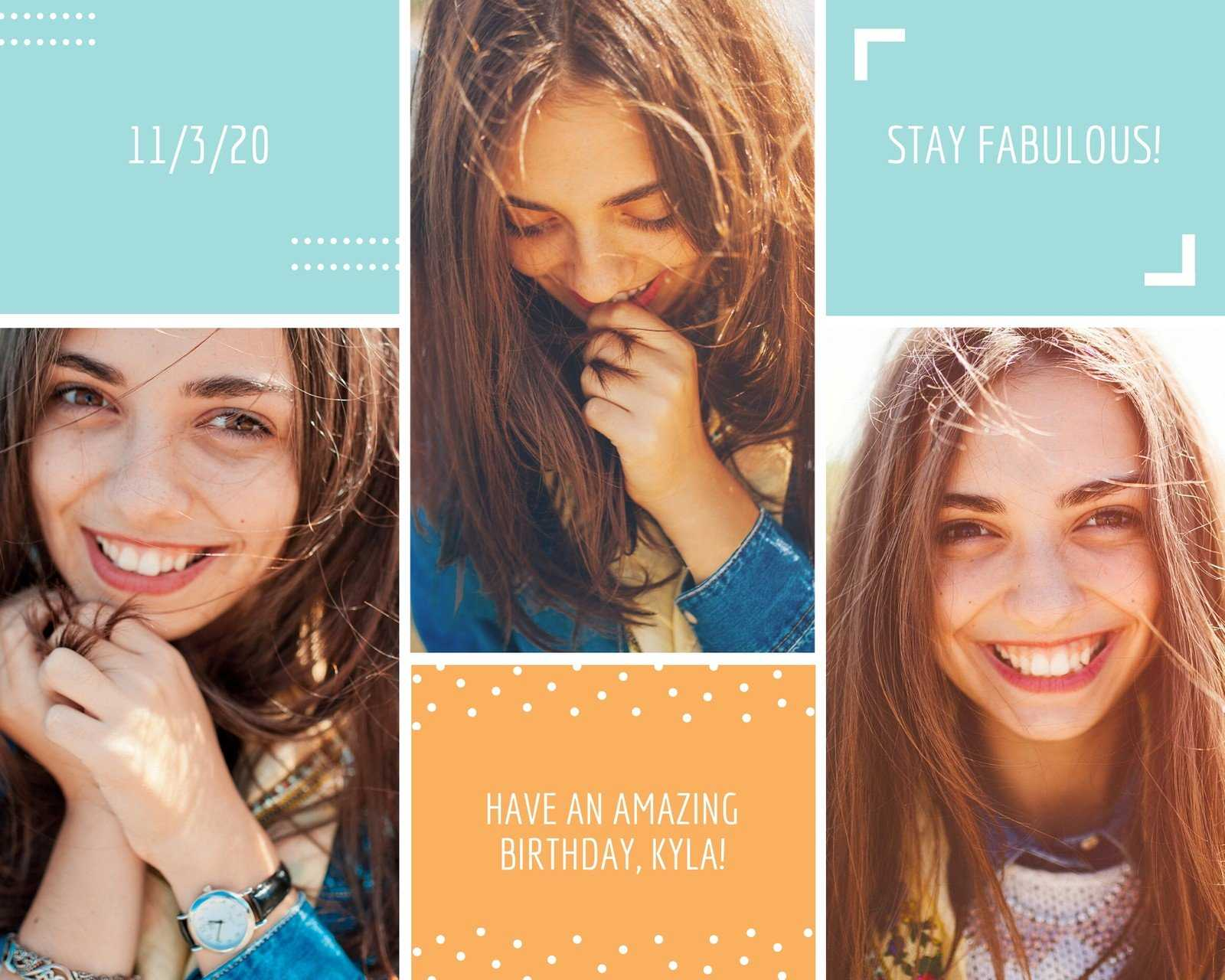 Birthday Card Photo Collage - Templatescanva Regarding Birthday Card Collage Template