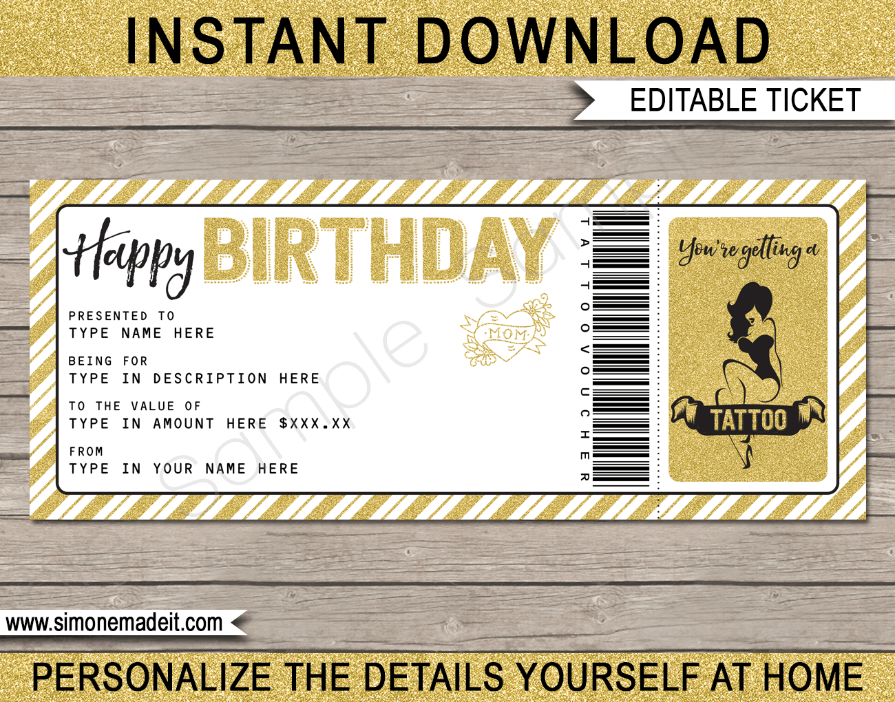 Birthday Tattoo Gift Vouchers With Tattoo Gift Certificate Template