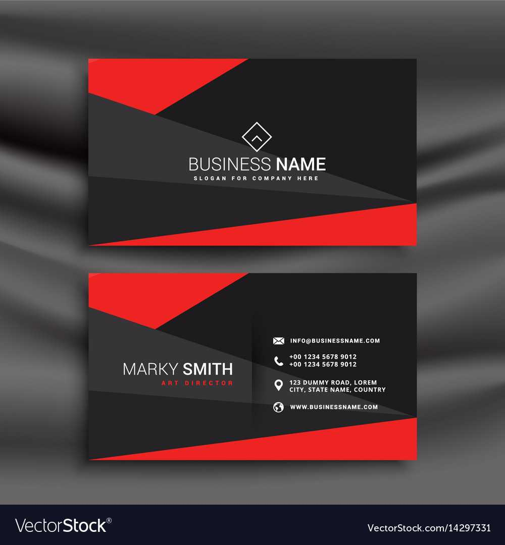 Black And Red Business Card Template With For Buisness Card Templates