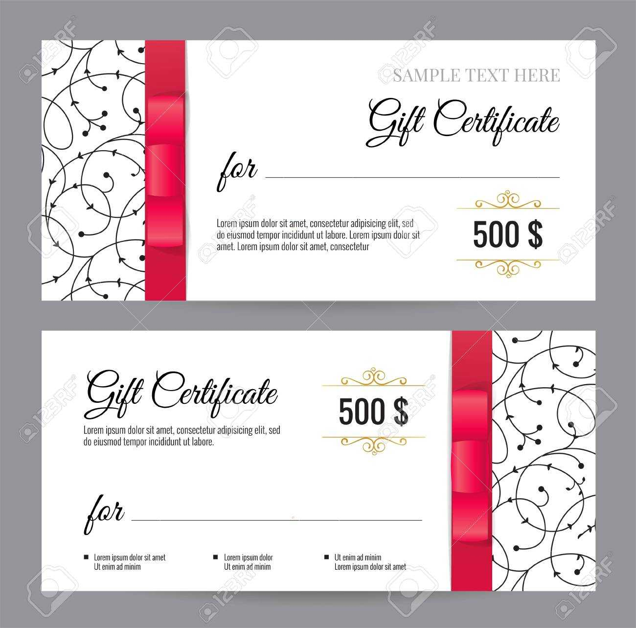 Black And White Gift Voucher Template With Floral Pattern And.. Intended For Black And White Gift Certificate Template Free