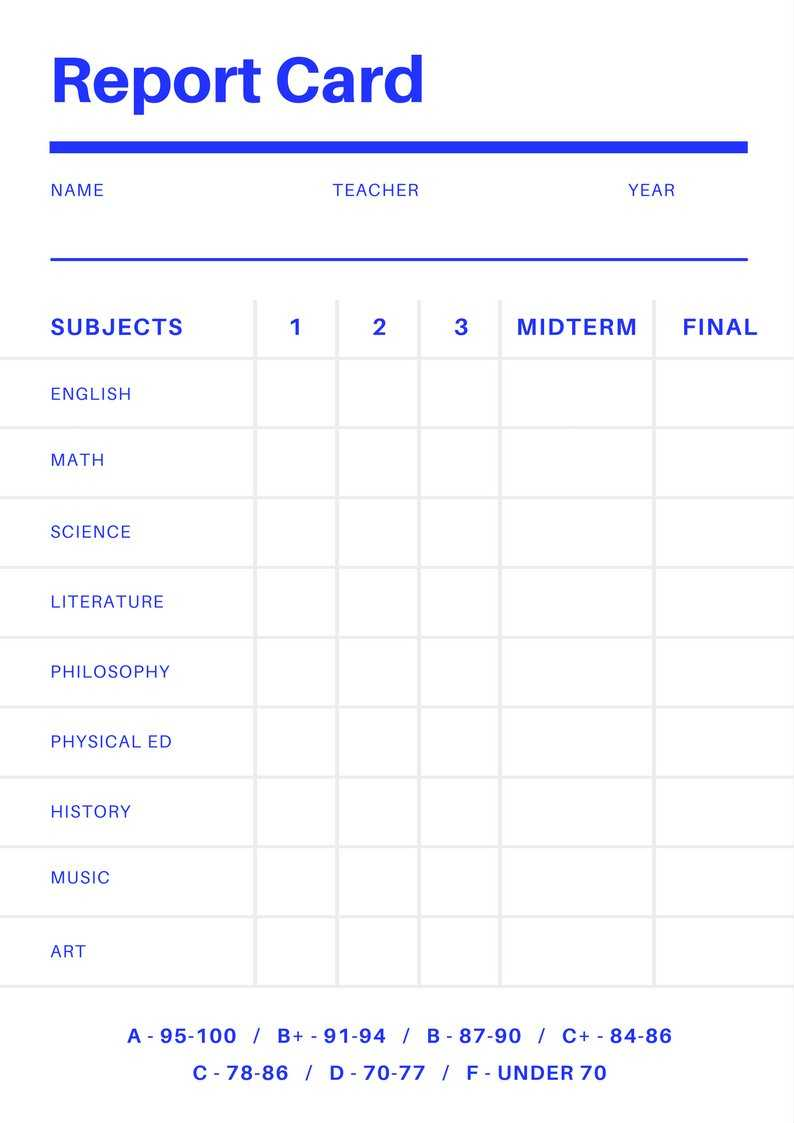 Blank Report Card Template - Best Professional Template Pertaining To Blank Report Card Template