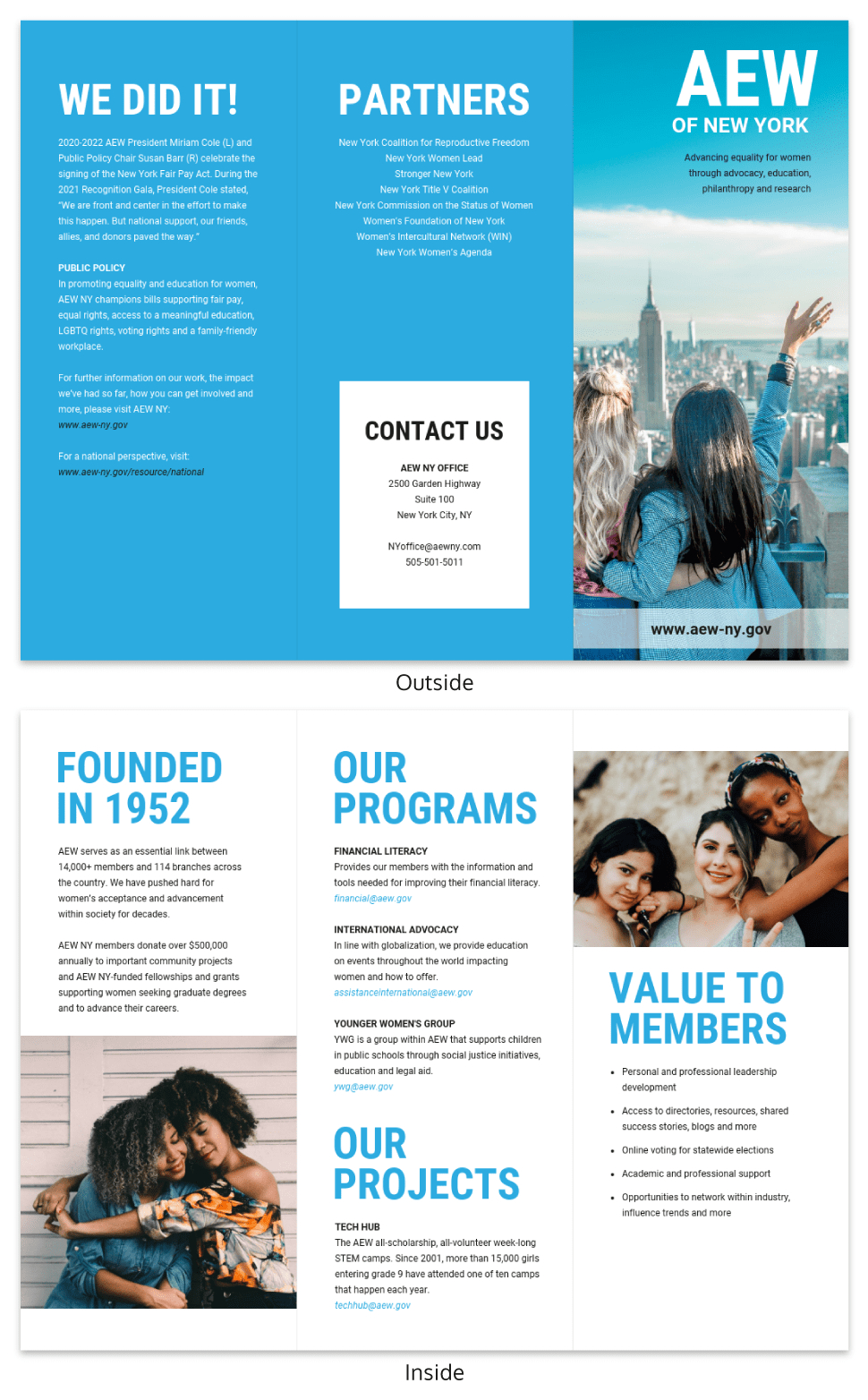 Blue Non Profit Tri Fold Brochure Template Intended For Membership Brochure Template