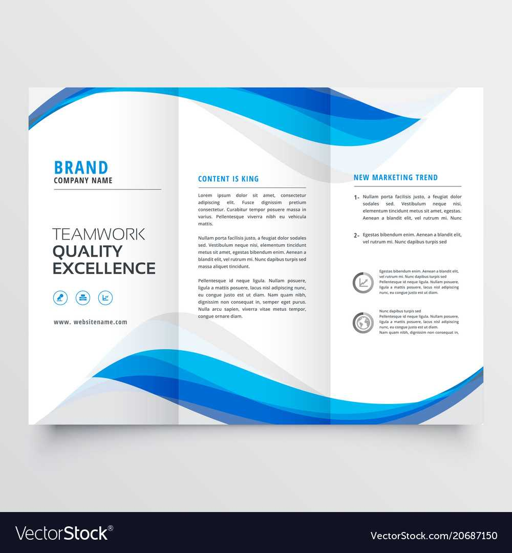 Blue Wavy Business Trifold Brochure Template Regarding Free Brochure Template Downloads