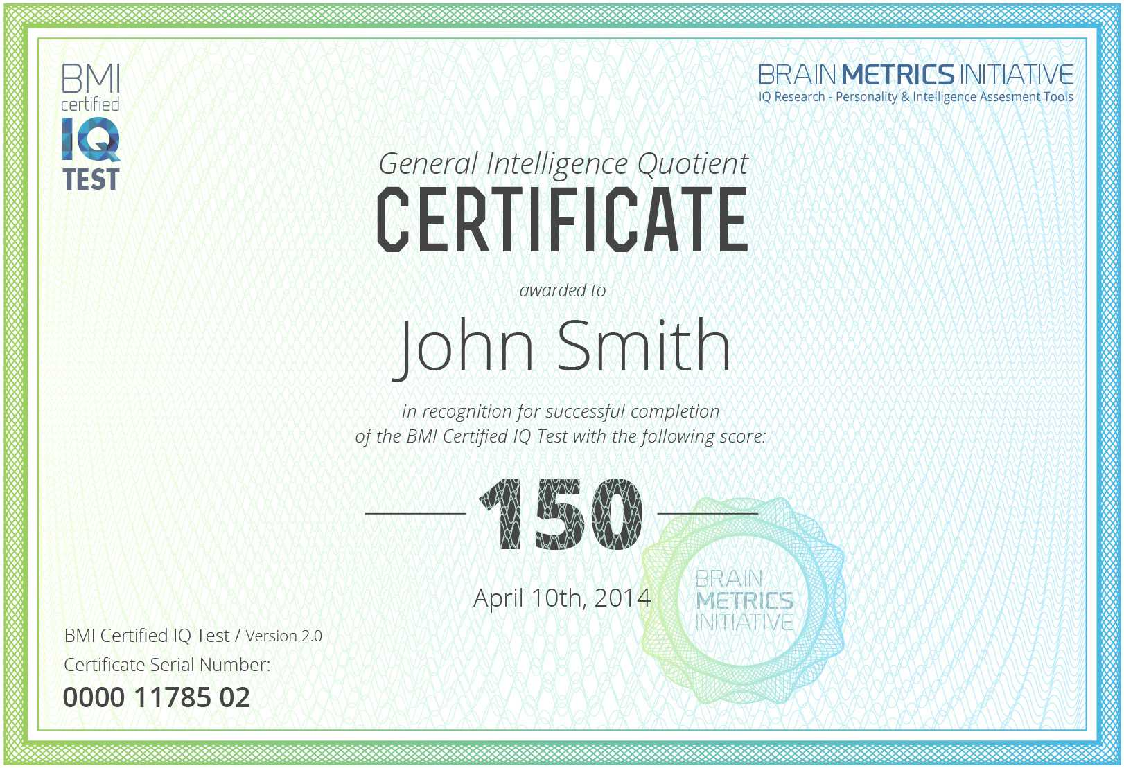 Bmi Certified Iq Test - Take The Most Accurate Online Iq Test! Within Iq Certificate Template