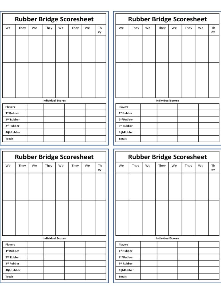 Bridge Score Sheet - 6 Free Templates In Pdf, Word, Excel Intended For Bridge Score Card Template