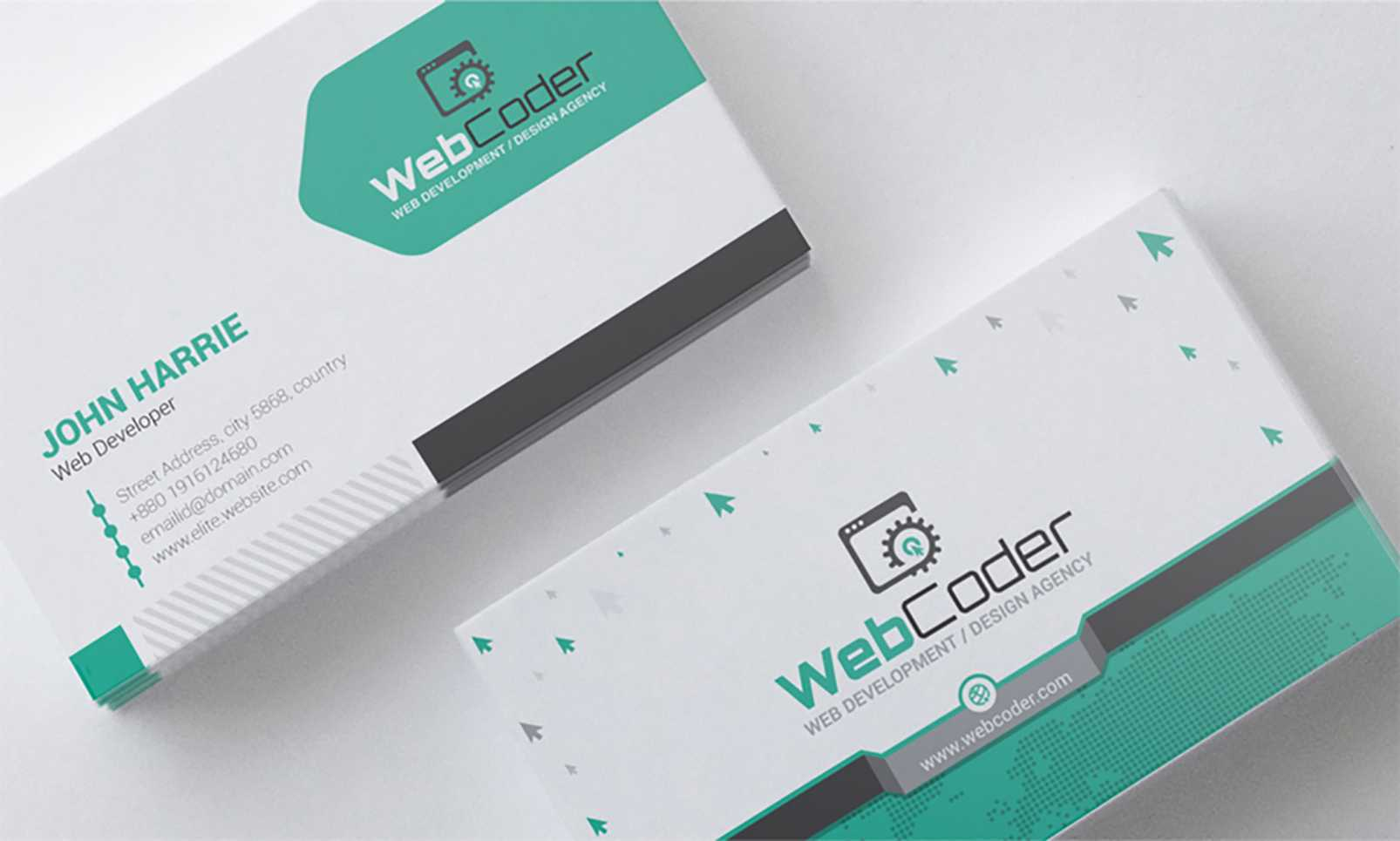 'business Card Design For Web Design And Developer' - Адаптивний Psd Шаблон  №66306 Intended For Web Design Business Cards Templates