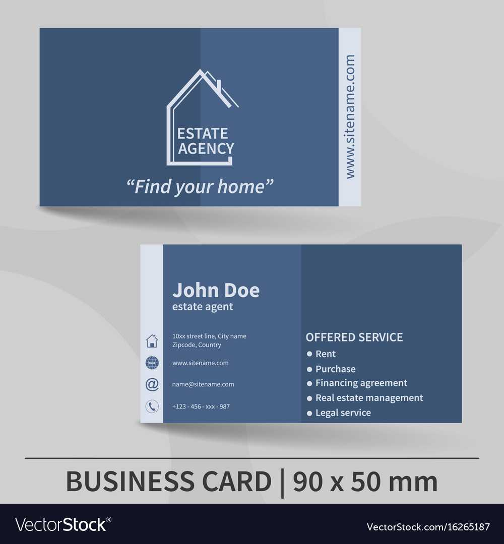 Business Card Template Real Estate Agency Design Inside Real Estate Agent Business Card Template