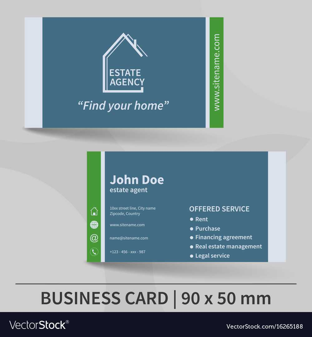 Business Card Template Real Estate Agency Design Within Real Estate Agent Business Card Template