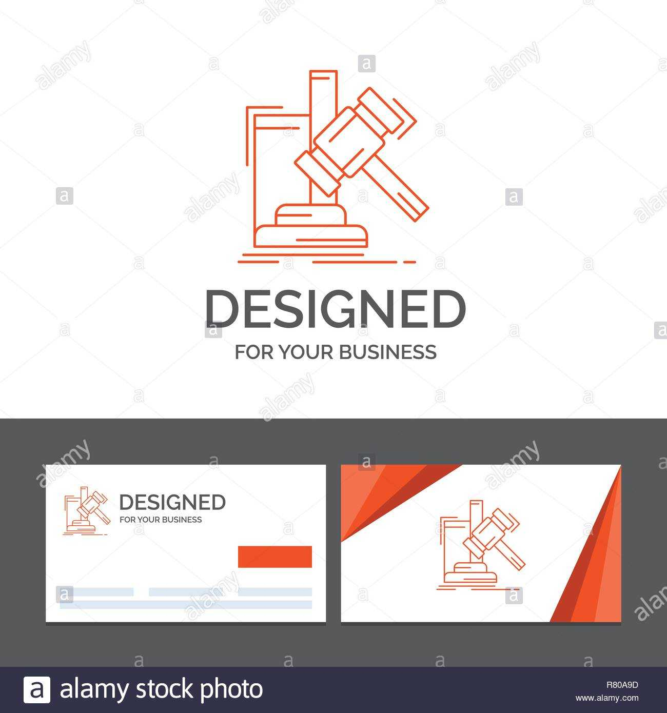 Business Logo Template For Auction, Gavel, Hammer, Judgement Within Auction Bid Cards Template