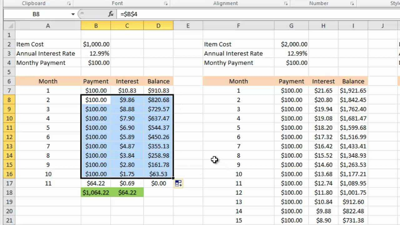 Calculating Credit Card Payments In Excel 2010 For Credit Card Payment Spreadsheet Template