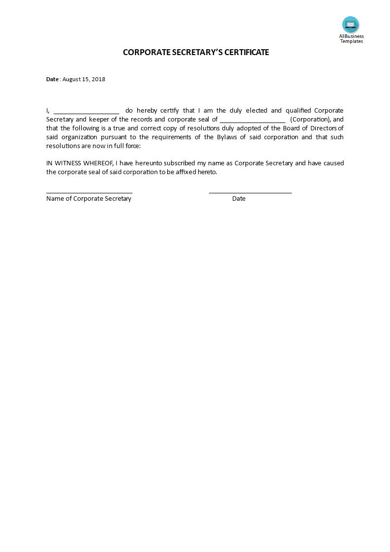 Certificate, Corporate Secretary's   Templates At In Corporate Secretary Certificate Template