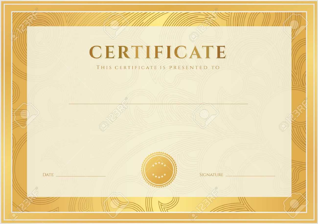 Certificate, Diploma Of Completion Template, Background Gold.. With Certificate Scroll Template