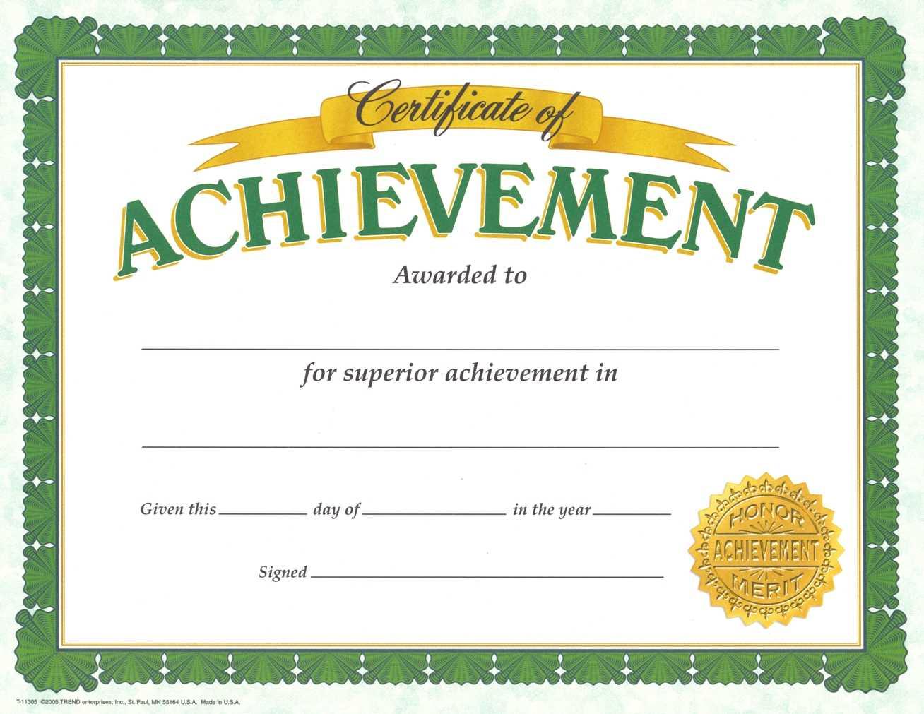 Certificate Of Achievement Template – Certificate Templates For Army Certificate Of Achievement Template