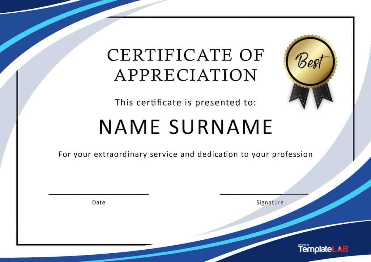 Certificate Of Appreciation Template Free Word - Karan With Free Certificate Of Appreciation Template Downloads