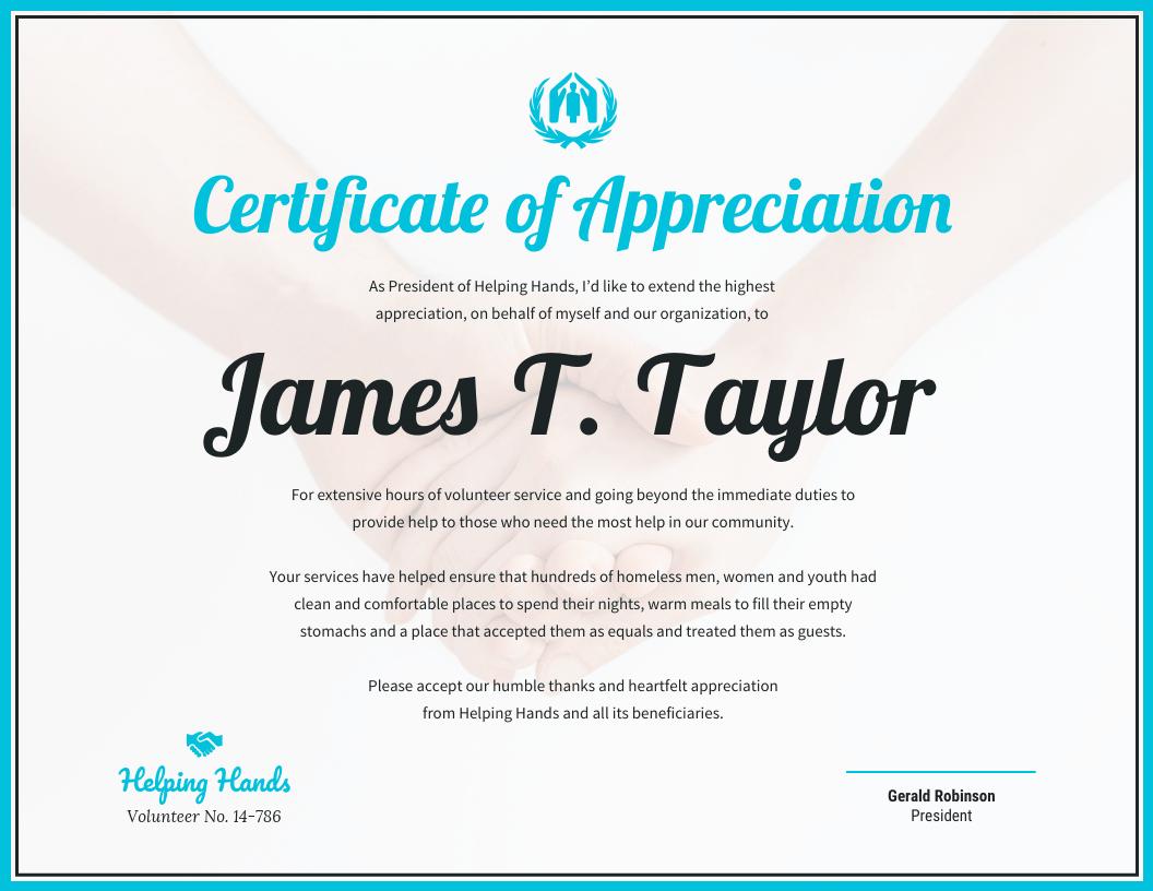 Certificate Of Appreciation With Regard To Volunteer Certificate Template