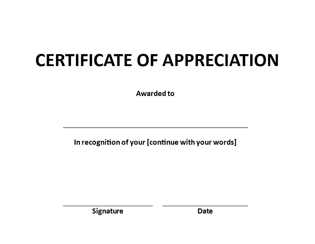 Certificate Of Appreciation Word Example | Templates At With Regard To Certificate Of Appearance Template