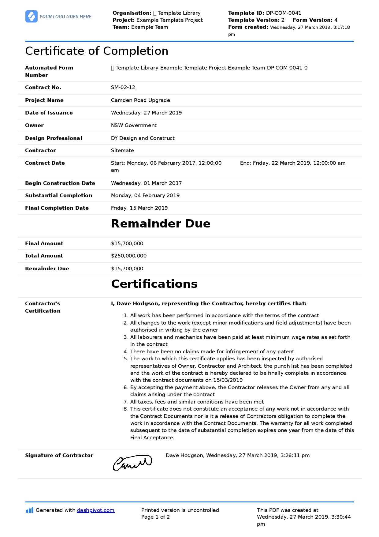 Certificate Of Completion For Construction (Free Template + Regarding Certificate Of Completion Template Construction