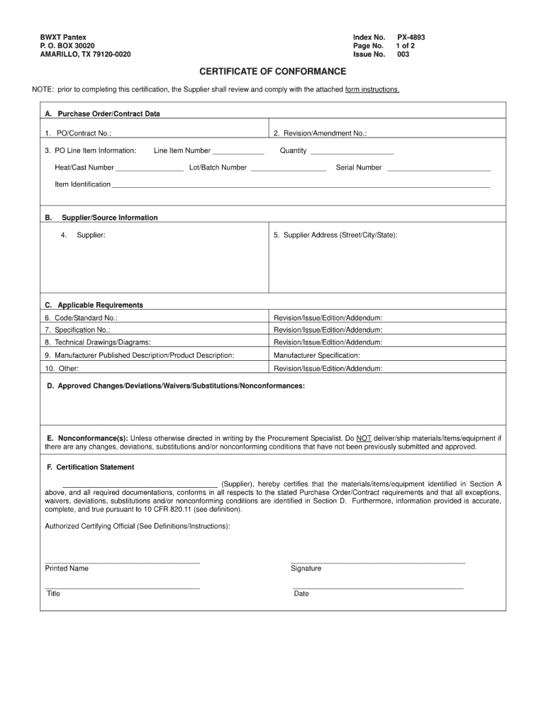Certificate Of Conformance Template - Fill Online, Printable In Certificate Of Compliance Template