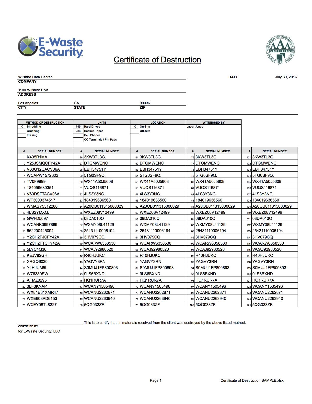Certificate Of Destruction - Hard Drive Destruction - E Regarding Hard Drive Destruction Certificate Template