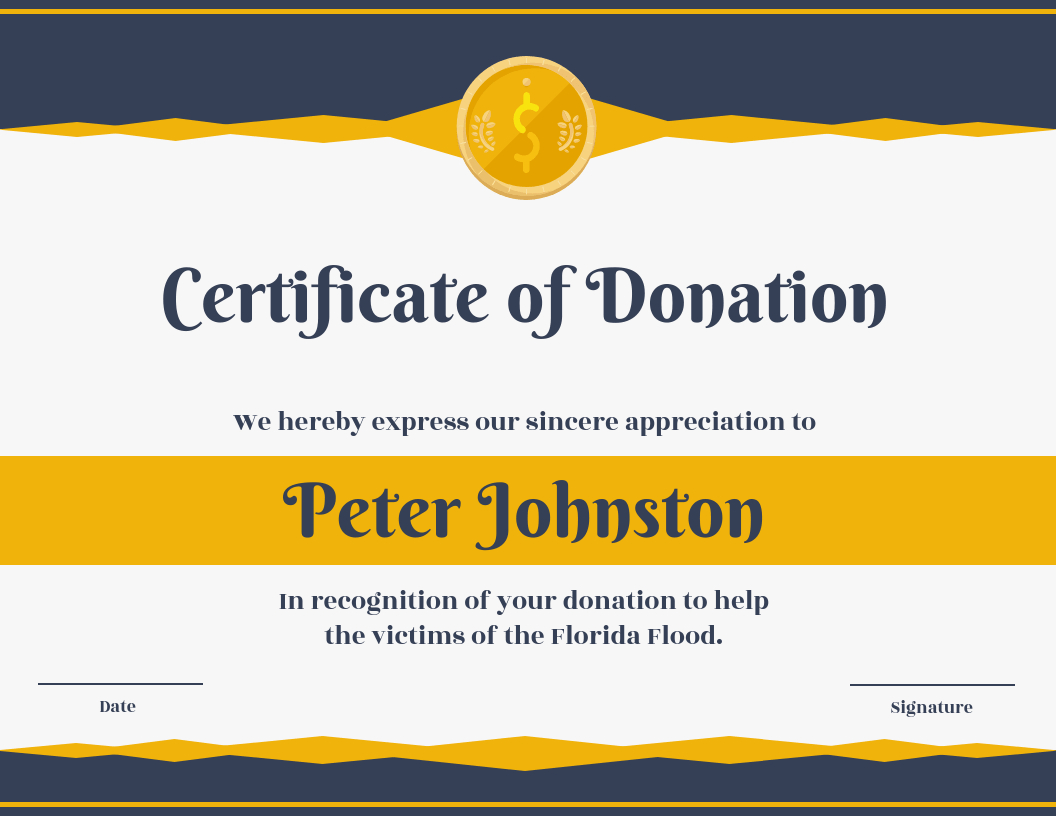 Certificate Of Donation Template For Donation Certificate Template
