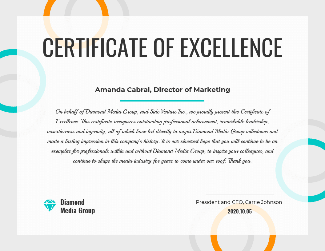 Certificate Of Excellence In Good Job Certificate Template