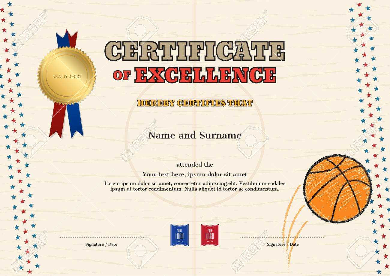 Certificate Of Excellence Template In Sport Theme For Basketball.. With Basketball Camp Certificate Template