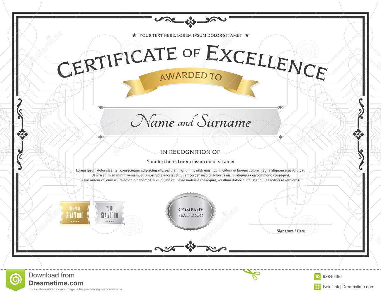 Certificate Of Excellence Template With Gold Award Ribbon On With Regard To Award Of Excellence Certificate Template
