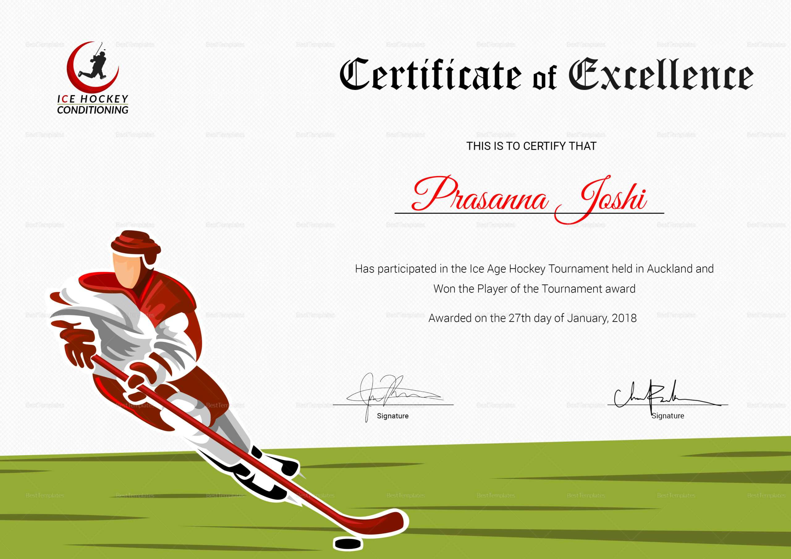 Certificate Of Hockey Performance Template For Hockey Certificate Templates