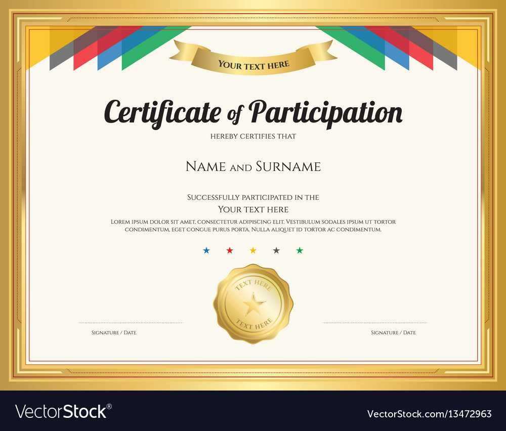 Certificate Of Participation Template With Gold Intended For Certification Of Participation Free Template