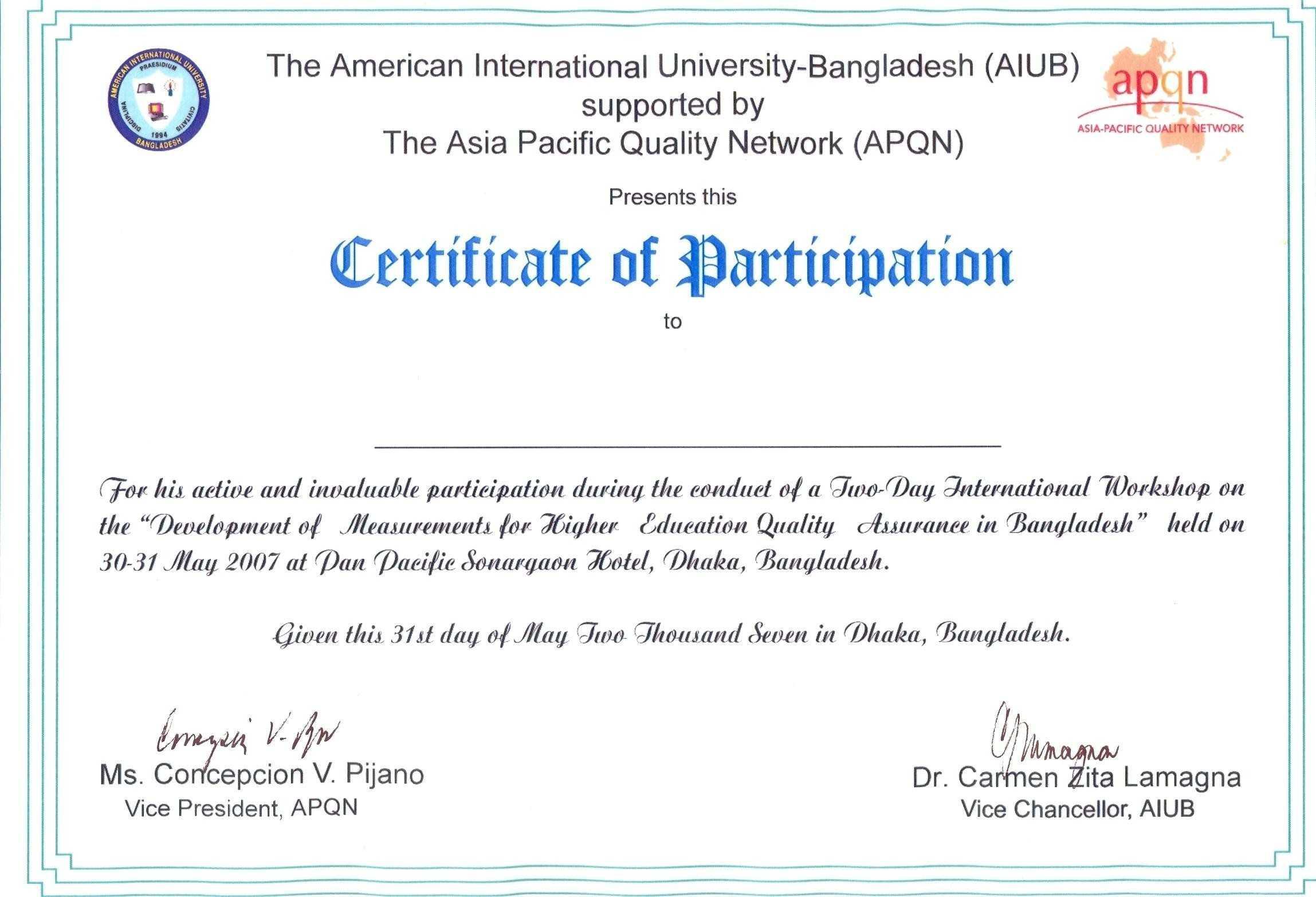 Certificate Of Participation Wording - Karan.ald2014 Pertaining To Certificate Of Participation Word Template