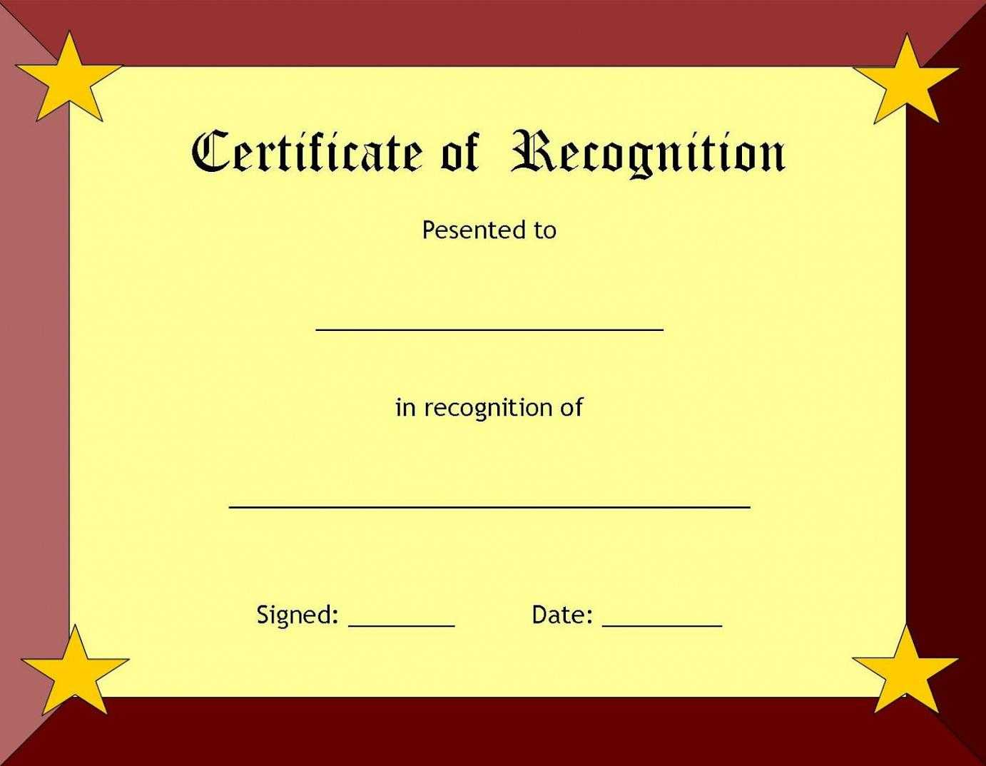 Certificate Of Recognition Template – Certificate Templates Throughout Template For Recognition Certificate