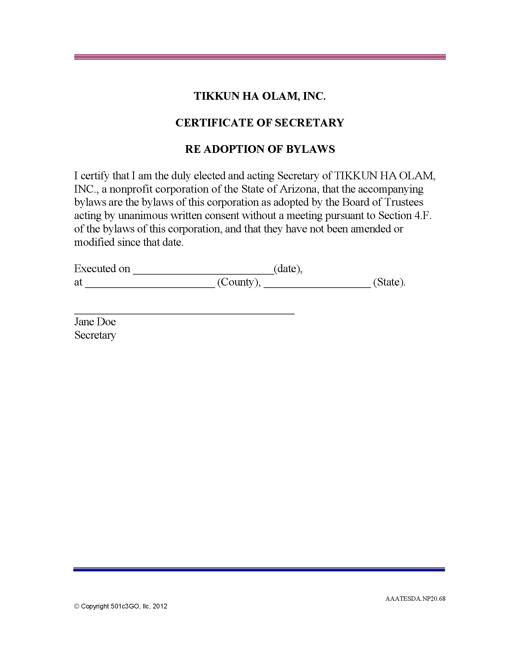 Certificate Of Secretary Re Adoption Of Bylaws   501C3Go Within Corporate Secretary Certificate Template