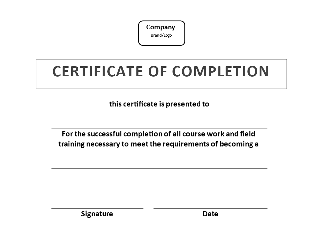 Certificate Of Training Completion Example | Templates At Inside Template For Training Certificate