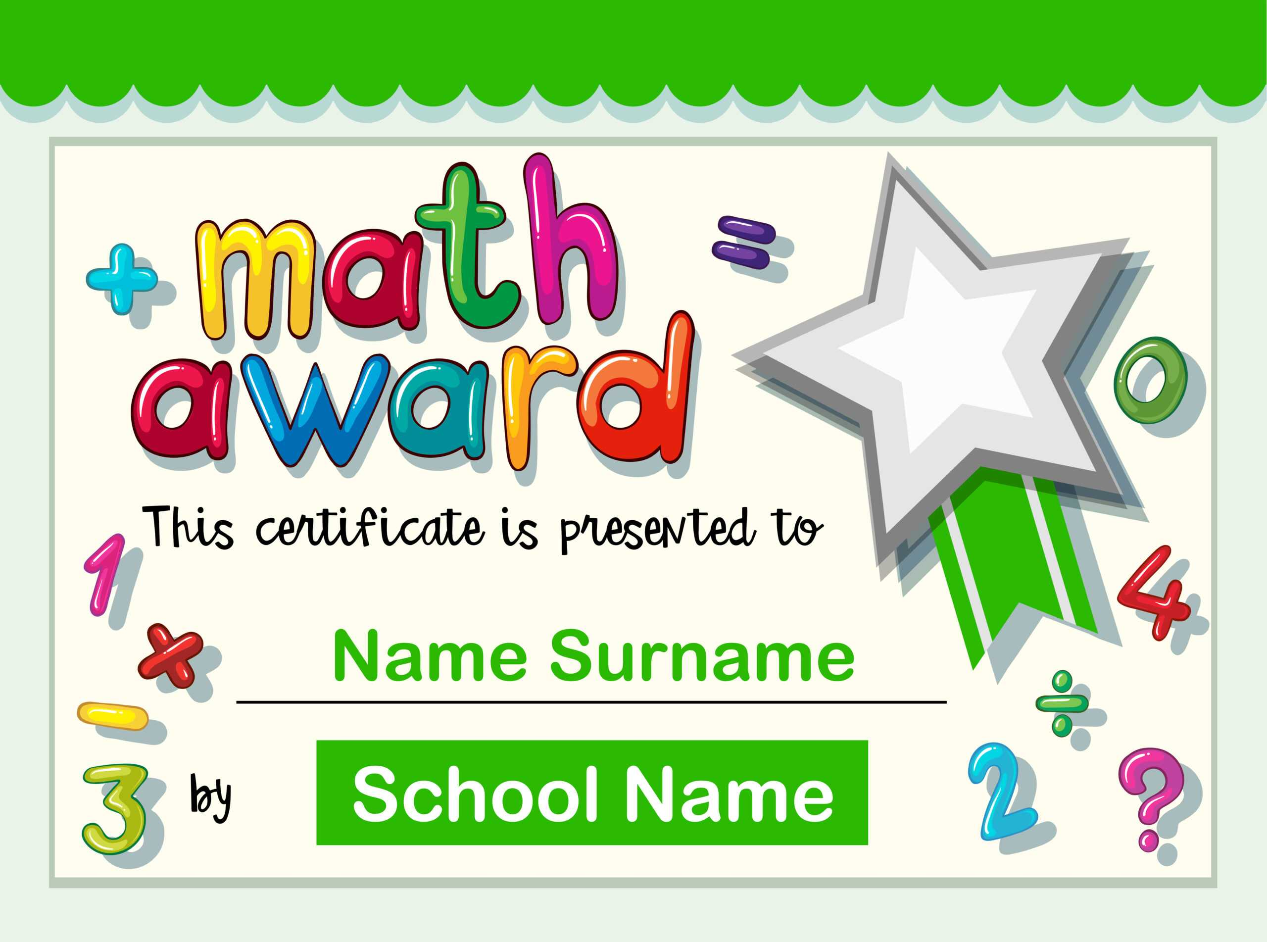 Certificate Template For Math Award - Download Free Vectors For Math Certificate Template