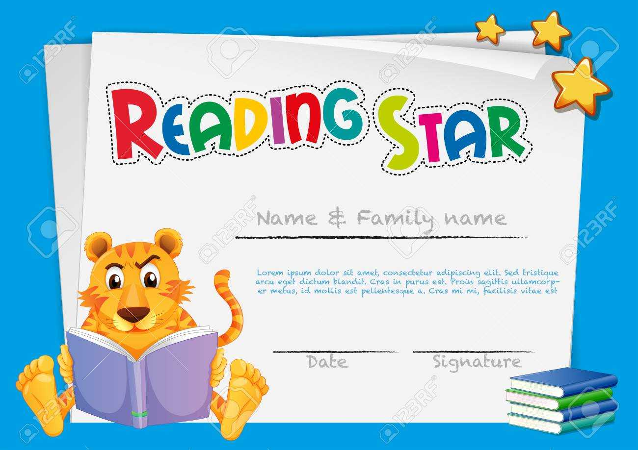 Certificate Template For Reading Award Illustration Throughout Star Award Certificate Template