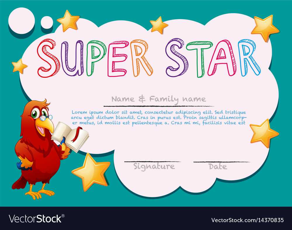Certificate Template For Super Star Within Star Naming Certificate Template