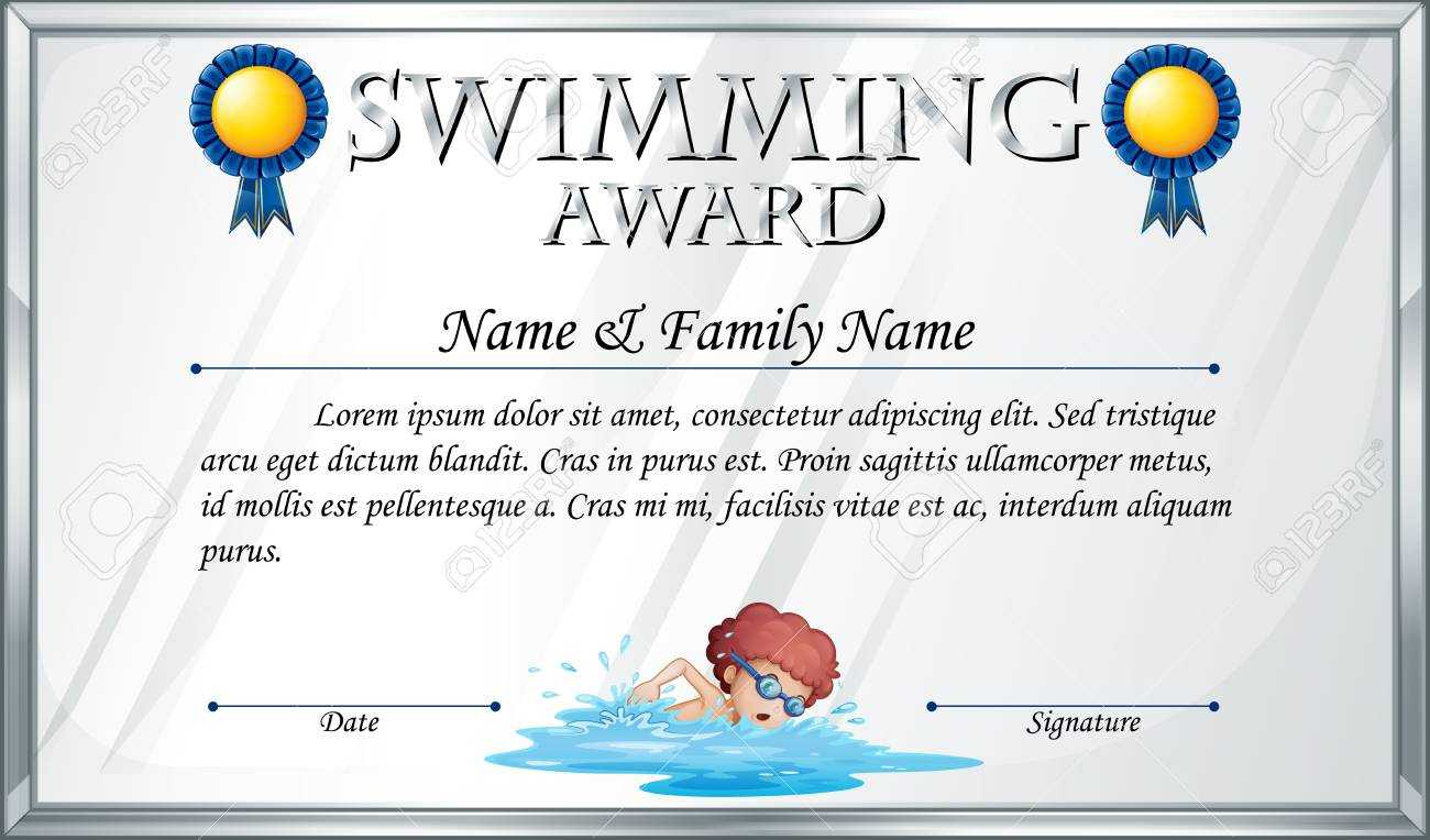 Certificate Template For Swimming Award Illustration Throughout Swimming Award Certificate Template