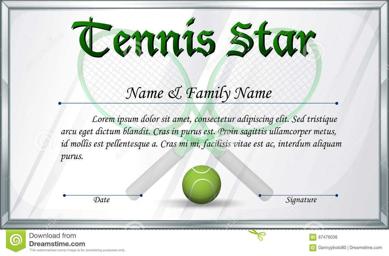 Certificate Template For Tennis Star Stock Vector In Tennis Certificate Template Free