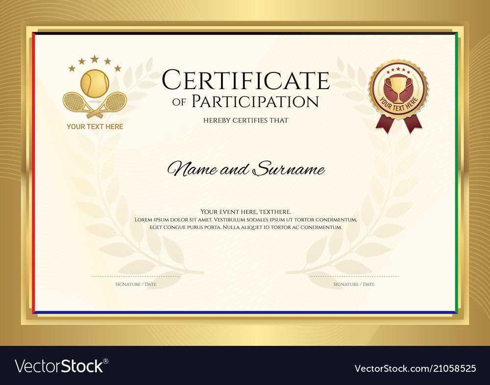 Certificate Template In Tennis Sport Theme With With Tennis Certificate Template Free
