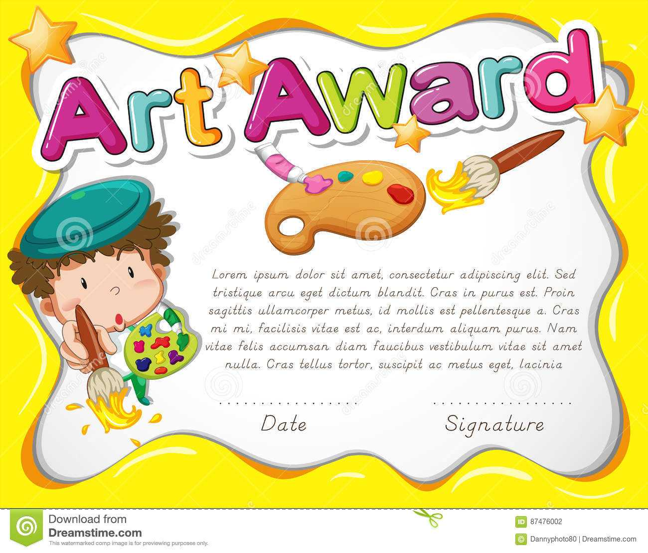 Certificate Template With Artist And Watercolor Stock Vector With Regard To Free Art Certificate Templates