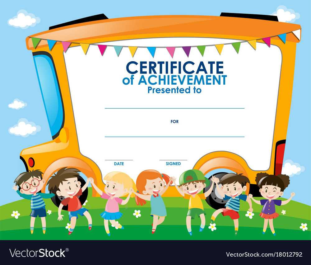 Certificate Template With Children And School Bus Intended For Certificate Templates For School