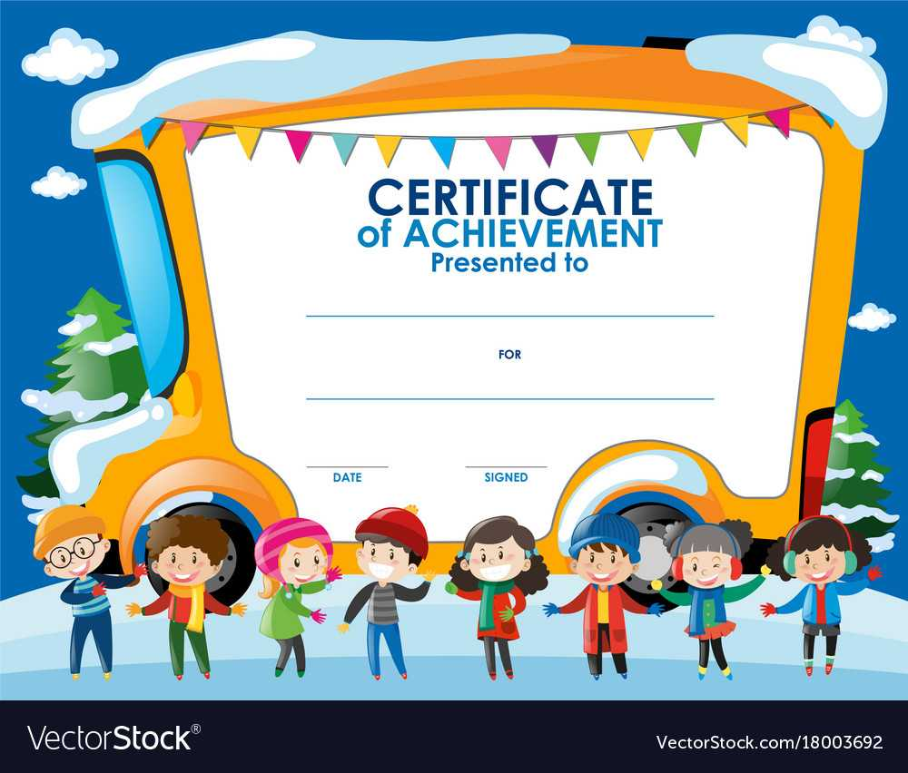 Certificate Template With Children In Winter Inside Free Kids Certificate Templates