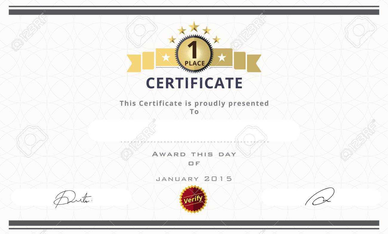 Certificate Template With First Place Concept. Certificate Border.. For First Place Award Certificate Template