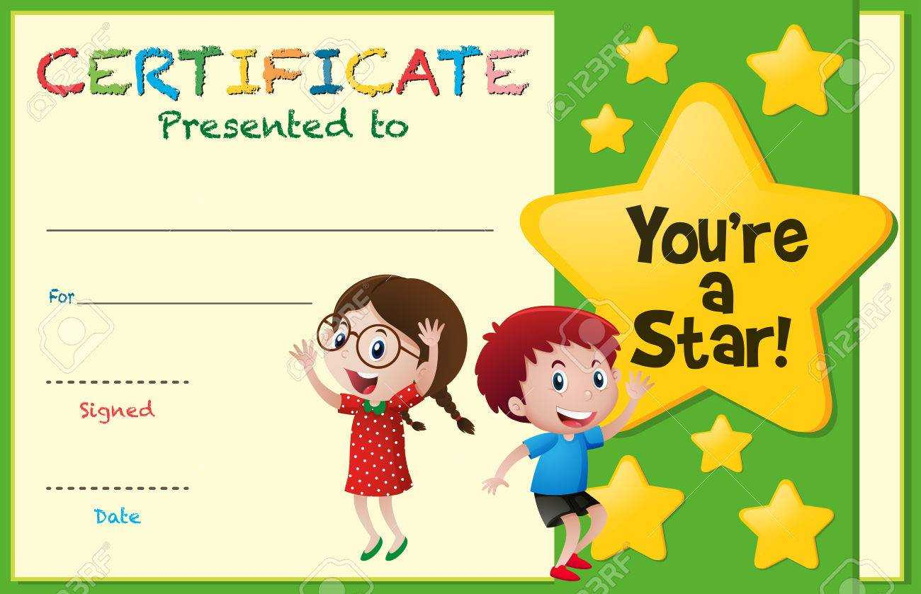 Certificate Template With Kids And Stars Illustration Within Star Award Certificate Template