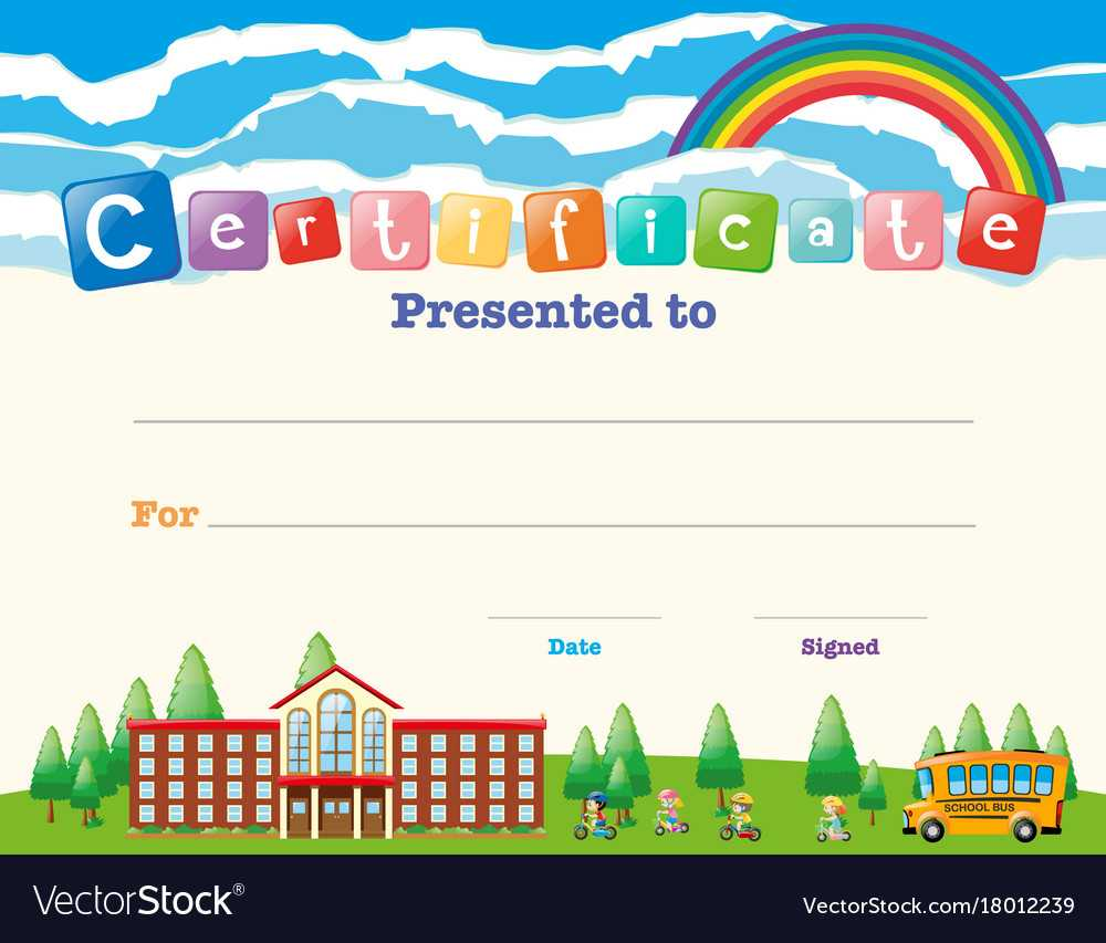 Certificate Template With Kids At School Regarding Certificate Templates For School