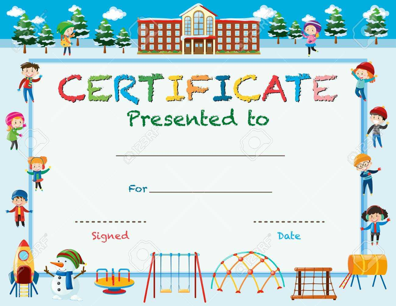Certificate Template With Kids In Winter At School Illustration Pertaining To Free School Certificate Templates